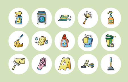 iron ribbon: Cleaning and sewing icons set
