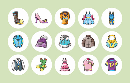 Das Tragen von Kleidung und Icons Set