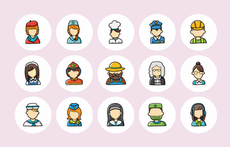 occupations: People occupations icons set
