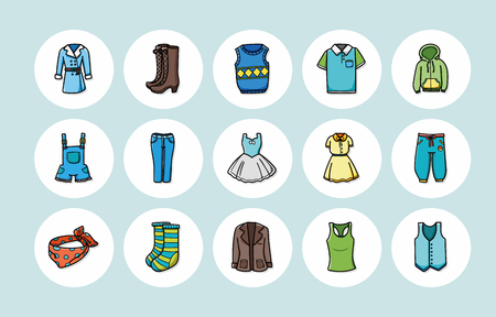 blazer: Wearing and clothes icons set Illustration