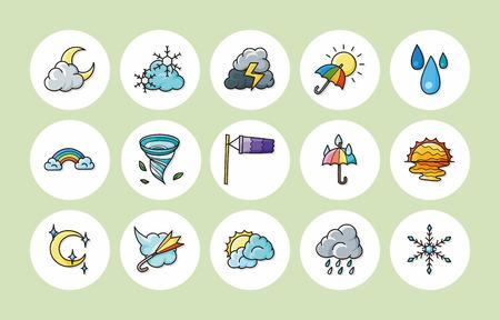 sleet: Weather icons set Illustration