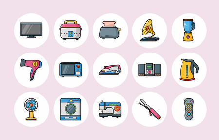 appliances: Home appliances icons set
