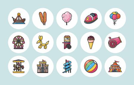 ferriswheel: Amusement park icons set