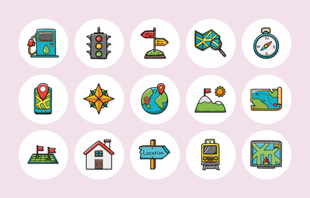 navigation icons: Location and navigation icons set