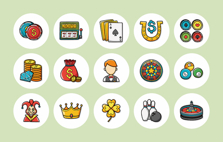 gambling counter: Casino and gambling icons set