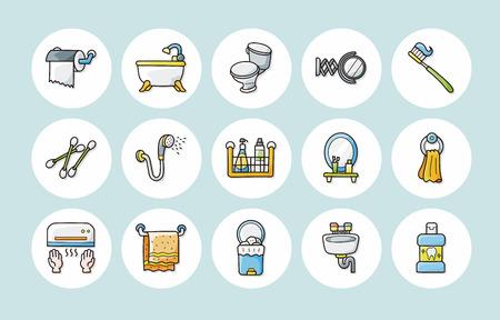 Sanitary and bathroom icons set