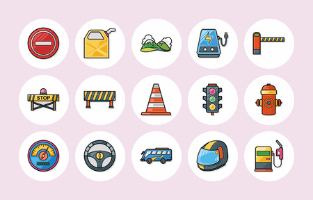 stop icon: Traffic and sign icons set