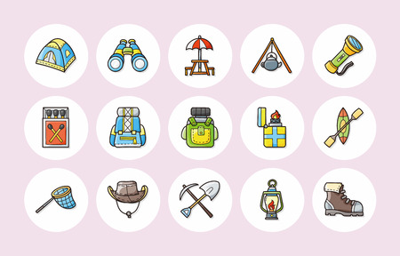 boy scouts tent: Camping and outdoor icons set Illustration