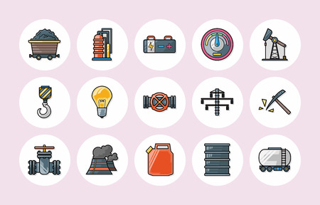 fabrication: Industry and factory icons set