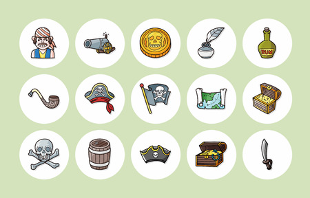 ahoy: Pirate icons set