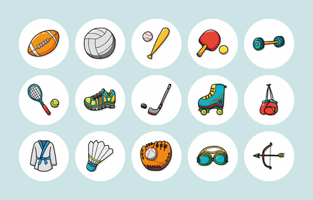 Sport and fitness icons set 일러스트