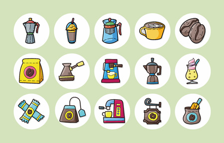 absract: Coffee and tea icons set Illustration