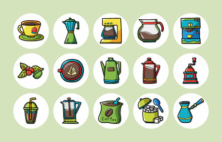 contemporary taste: Coffee and tea icons set Illustration
