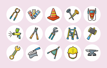 putty knives: Worker tools icons set