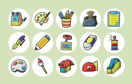 wastebasket: Stationery and drawing icons set