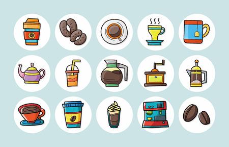 side menu: Coffee and tea icons set Illustration