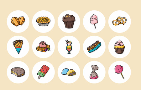 Dessert and sweets icons set,eps10 Illustration