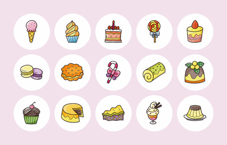 foodstuffs: Dessert and sweets icons set