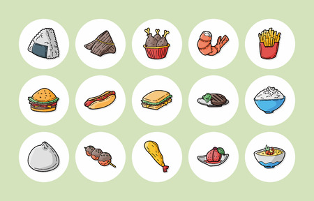 Food and drinks icons set Illustration