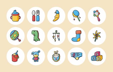 New born baby icons set