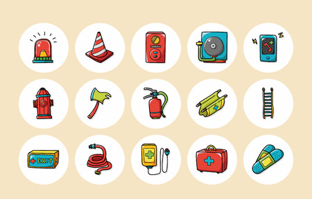 smoke alarm: Emergency and fire icons set