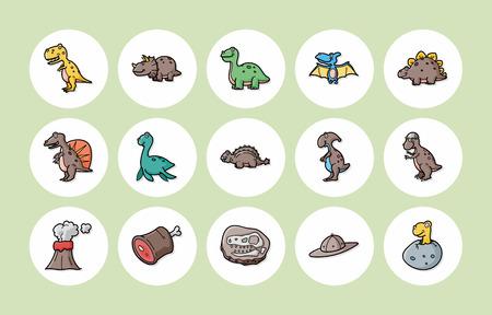 trex: Dinosaurs icons set Illustration