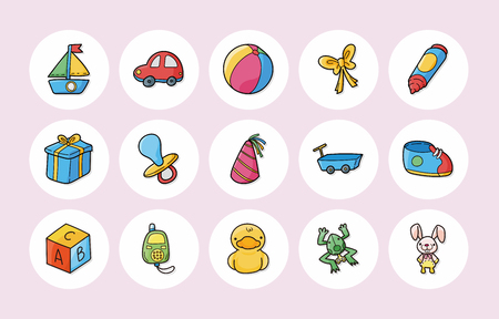 new born: New born baby icons set,eps10 Illustration