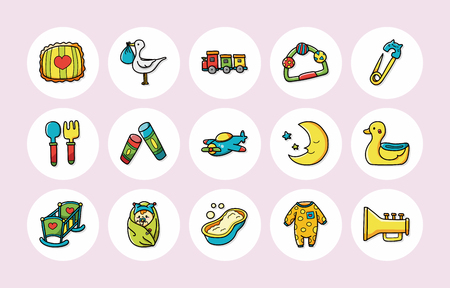 new born: New born baby icons set