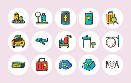 check book: Airport sign icons set