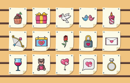 diamond candle: Valentines day and love icons set