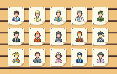 People occupations icons set,eps10 Stock Illustratie