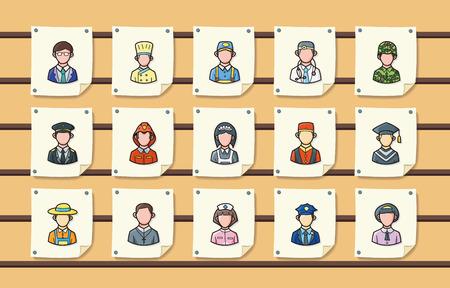Ocupaciones de personas iconos conjunto, eps10