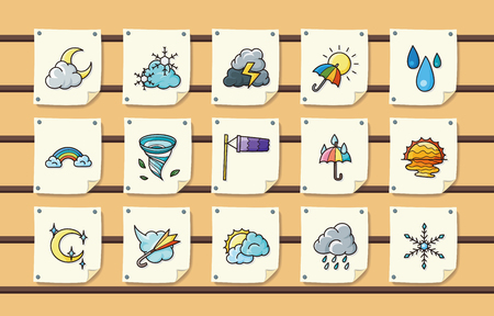 windy day: Weather icons set Illustration