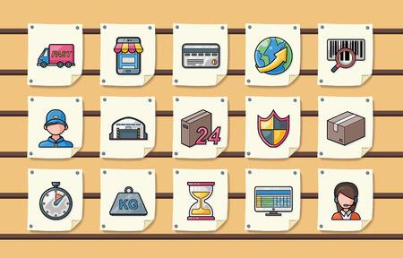 Logistique et expédition icons set