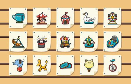 ferriswheel: Amusement park icons set,