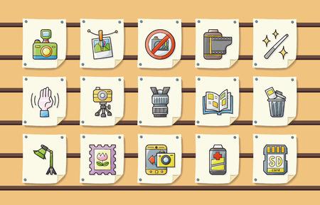 photo printer: Camera and photo icons set Illustration