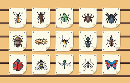 Insects and bugs icons set