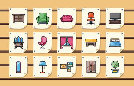 home furniture: Home furniture icons set