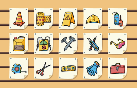 hand shovels: Worker tools icons set