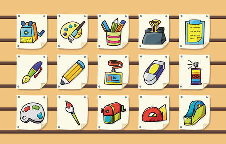 glass cutter: Stationery and drawing icons set