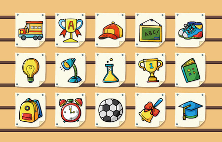 School and Education icons set Illustration