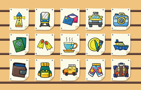 sun block: Travel and tourism icons set