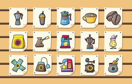 Coffee and tea icons set 向量圖像