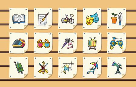 Loisirs et passe-temps icons set Banque d'images - 62022127