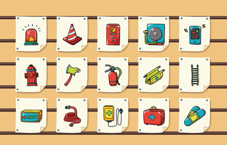 Emergency and fire icons set