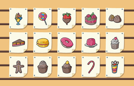 sweetmeat: Dessert and sweets icons set
