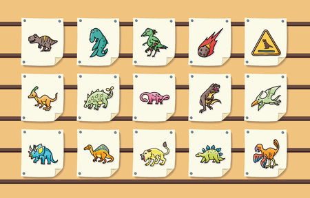 Dinosaurs icons set Illustration
