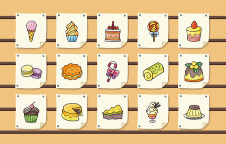 Dessert and sweets icons set