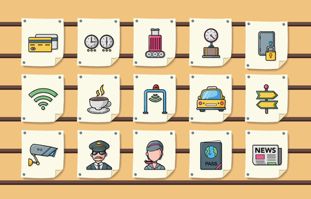 check book: Airport sign icons set,eps10 Illustration