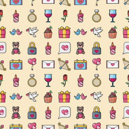 Valentine's day and love icons set Stock Illustratie